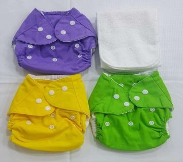 Reusable Baby Cloth Daiper (3 kg to 15 kg) Multi-Color (3 PCs Diapers with 3 Diaper nappy)