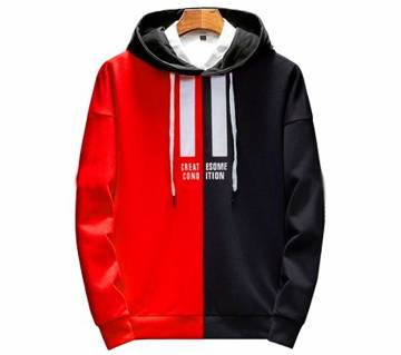Mens Winter Hoodie-Red and Black