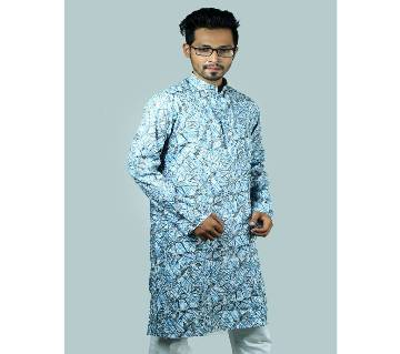 Printed Cotton Semi Long Panjabi for Men