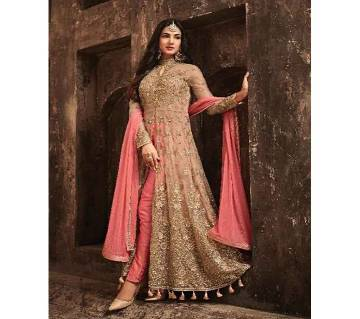 Semi Stitched Net with Embroidery work Suit