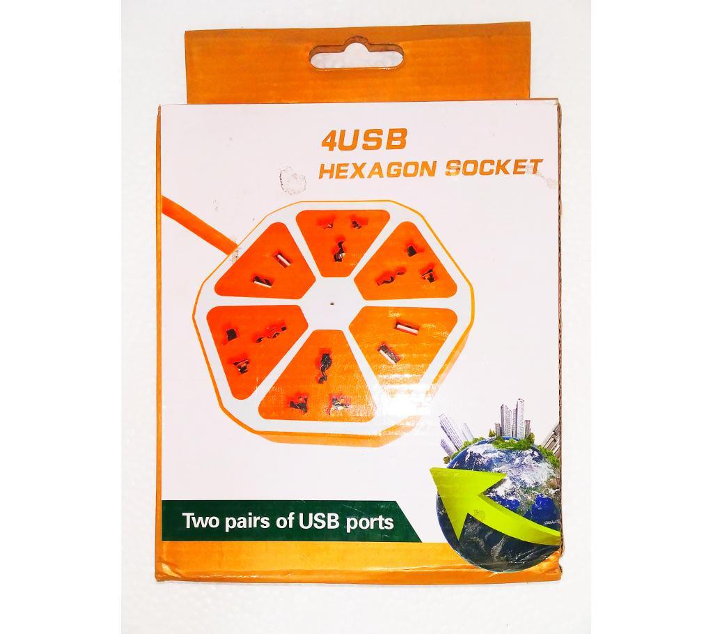 4 USB পোর্ট হেক্সাগন শেপড মান্টিপ্লাগ বাংলাদেশ - 970972