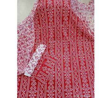 Unstitched Block Printed Cotton Three piece