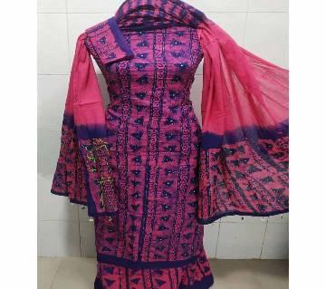 Unstitched Batik Cotton Salwar Kameez For Women-purple