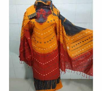Unstitched Batik Cotton Salwar Kameez For Women-magenta