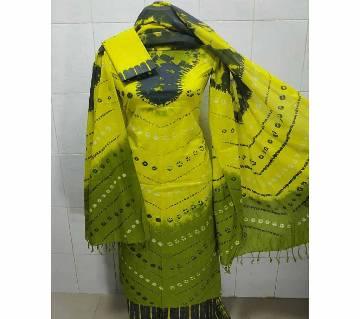 Unstitched Batik Cotton Salwar Kameez For Women-green