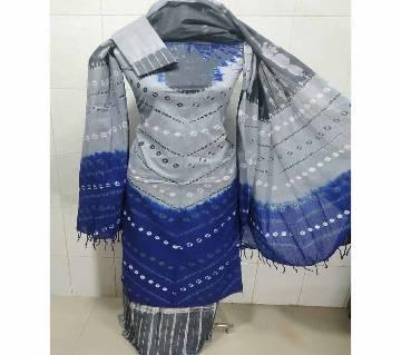 Unstitched Batik Cotton Salwar Kameez For Women-blue
