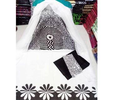 Unstitched Regular Block Design Cotton Three-piece