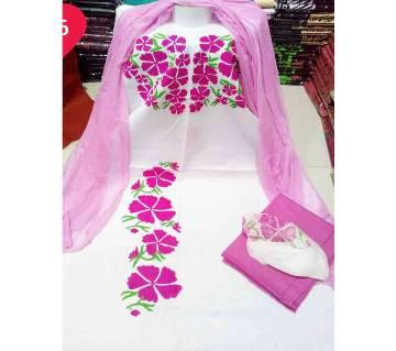 Unstitched Regualr Block Design Cotton Three-piece