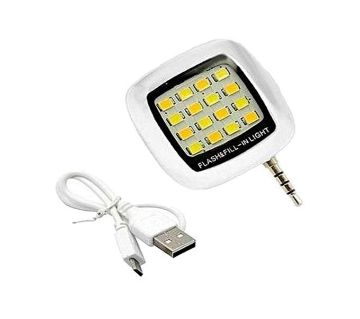 Mini 16 LED Selfie Camera Flash Light - White