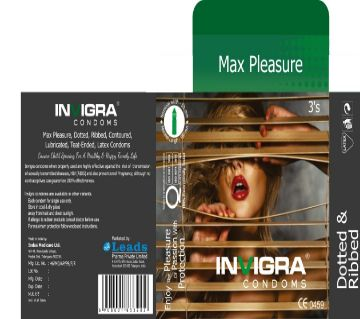 Max Pleasure - Dotted & Ribbed, Contoured lubricated, teat-ended, latex condoms for intense and maximum pleasure.