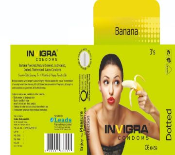 Banana- Banana flavored, Yellow colored, lubricated, teat-ended, latex condoms.