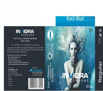 Kool Blue- Blue coloured, lubricated, teat-ended, latex condoms for an ignited romance.