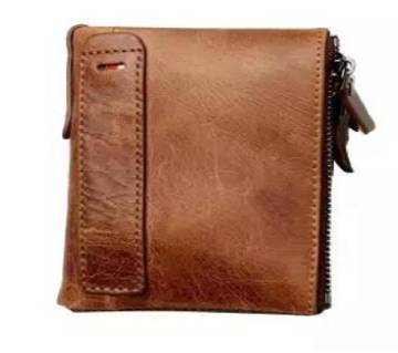 Brown Leather Card Holder and Two Zipper Pockets Wallet for Men