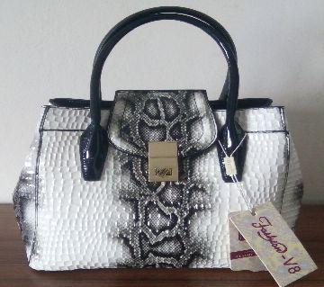 Fashion Genuine Leather White & Black handbag for women