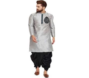 gray design Semi Long Silkpunjabi