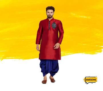 Maroon Semi Long Silk Panjabi for Men