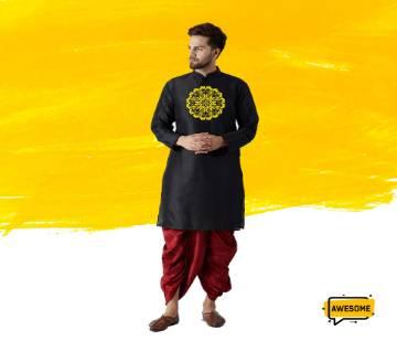 black silk design Semi long punjabi