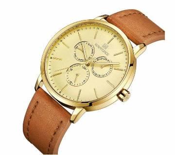 NAVIFORCE Mens Retro Luxury Brand Watch Business Date 24 Hour Date Mens Military Quartz Leather Watch Military Analog Clock