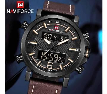 NAVIFORCE 9135 Men Sports Watches Fashion Luxury Mens Quartz Digital Leather Waterproof Military Wrist Watch
