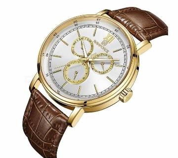 Naviforce 3002 Brand Luxury Date Day 24 Hour Clock Business Genuine Leather Waterproof Men Minimalist Chronograph Quartz Watch