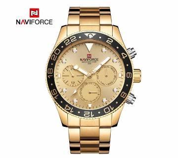 NAVIFORCE NF9147 Golden Stainless Steel Chronograph Watch For Men - Black & Golden
