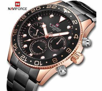 NAVIFORCE NF9147 Black Stainless Steel Chronograph Watch For Men - RoseGold & Black