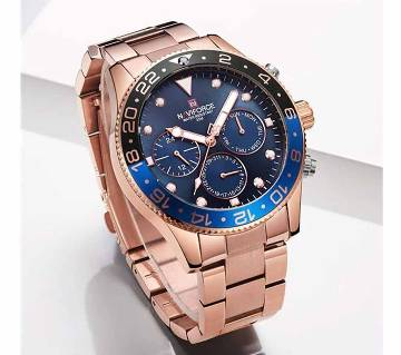 NAVIFORCE NF9147 RoseGold Stainless Steel Chronograph Watch For Men - Blue & RoseGold