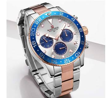 NAVIFORCE NF9147 Silver And RoseGold Two-Tone Stainless Steel Chronograph Watch For Men - RoseGold & Silver