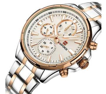 NF9089RGW Stainless Steel Chronograph Watch For Men - White Gold