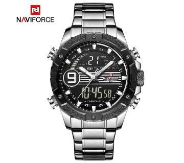 NAVIFORCE Luxury Brand 9146S Stainless Steel Dual Display Digital LED Sports Watch
