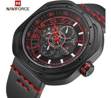 Naviforce  9141 Black and Red Dial chronograph wrist Watch for Men.