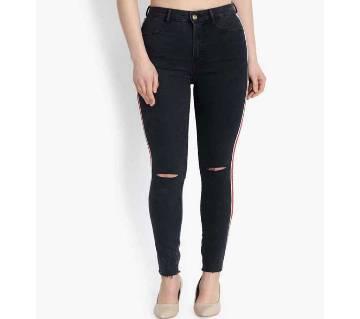 Ladies super spandex side stripe jeans