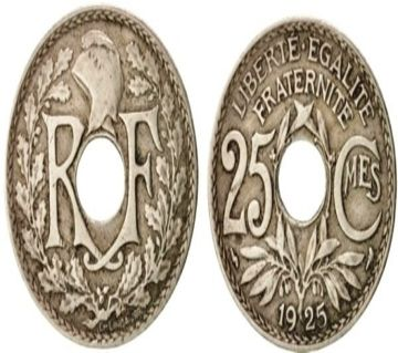France 25 Centime 1925  Coin with center hole