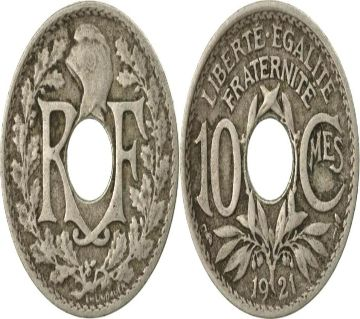 Coin France 10 Centimes 1921 Copper-nickel