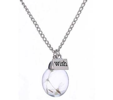 Crystal Ball Wish Noctilucence Dandelion Dried Flower Pendant Necklace