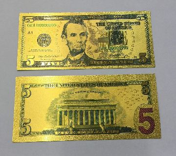 50 American Dollar Bill 24k Gold Art Collectibles Plated Fake Banknote Currency for Decoration or Gift