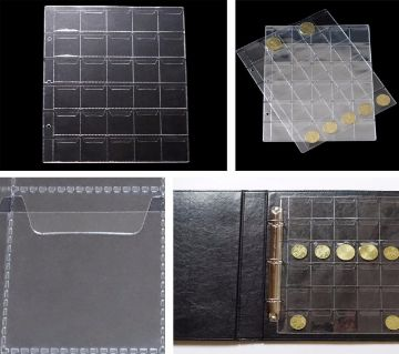 Classic 30 Pockets Plastic Clear Coin Pages Album