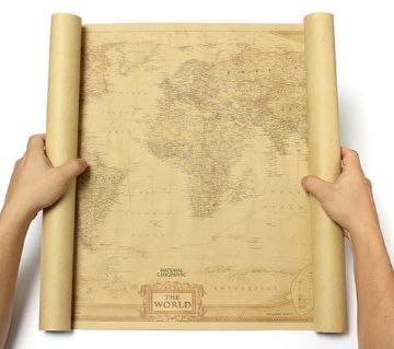Vintage Retro World Map Antique Paper Poster Wall Chart Home Decoration 28x18