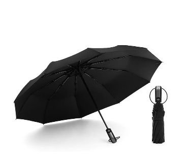 Auto Open Close Windproof Umbrella- Black