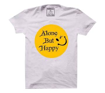 Alone But Happy Cotton Half Sleeve T-Shirt for Men
