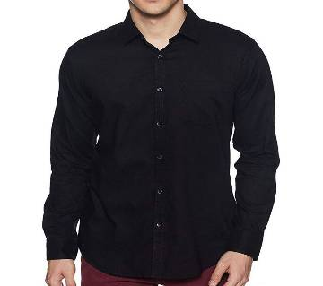 Casual Cotton Shirt for Men - Fade Black - Ink Black