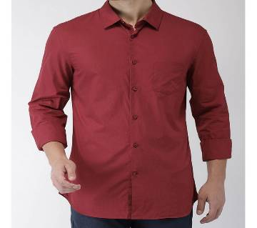 Casual Cotton Shirt for Men - Fade Black - Maroon
