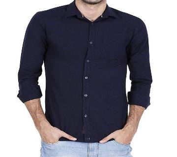 Casual Cotton Shirt for Men - Fade Black - Space Navy Blue