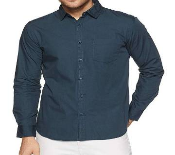 Casual Cotton Shirt for Men - Fade Black - Yeal Blue