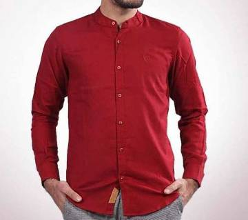 Red Panama Long Sleeve Casual Shirt for Men - UPF