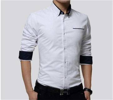 Off White Long Sleeve Casual Shirt for Men - 4