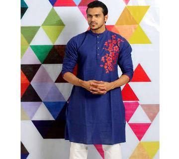 Mens Cotton Punjabi - Solid Navy Blue with Red Flower Design - MPL 71