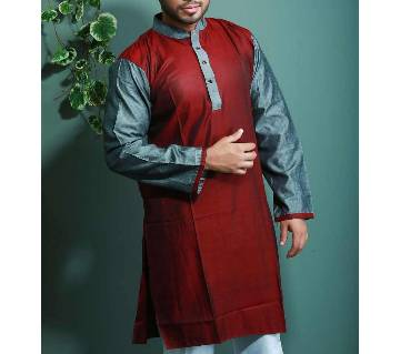 Cotton Design Panjabi - Maroon With Ash Neck and Hand Design - 101363