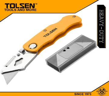 TOLSEN Folding Utility Knife Quick Release with 5pcs Blade (61x19mm) Box Cutter 30007