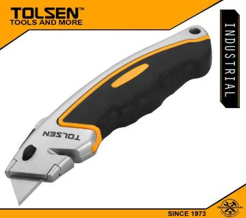 TOLSEN Retractable TPR Utility Knife w/ 5pcs SK5 Blade (61x19mm) Industrial Series Box Cutter 30009